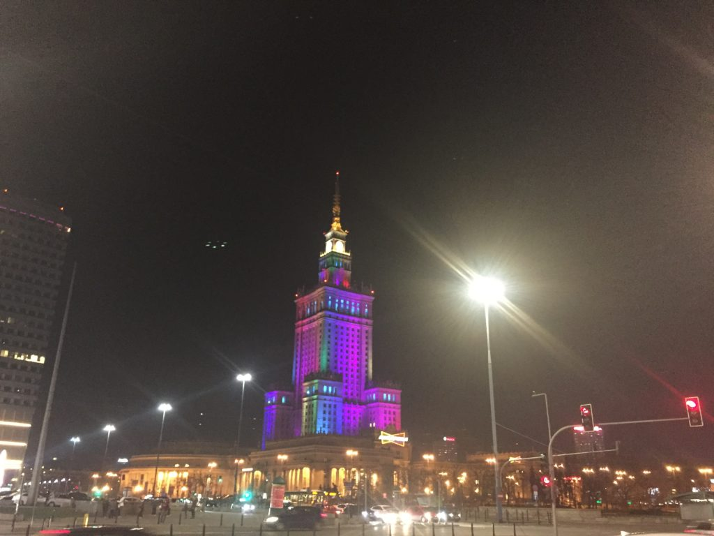 Culture palace by night Warsaw