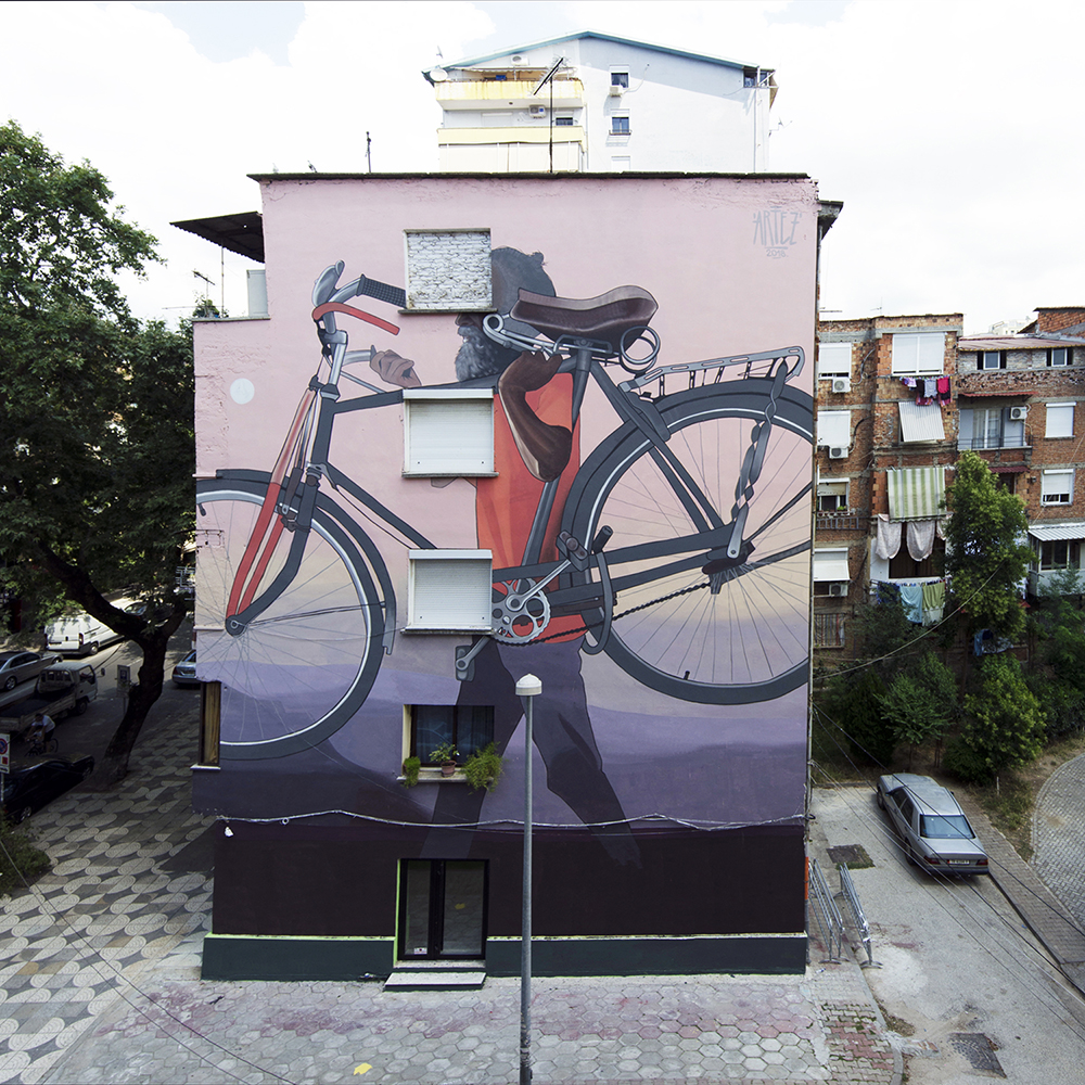 Tirana. Work by Artez, Don't judge me. ph. 167 b street