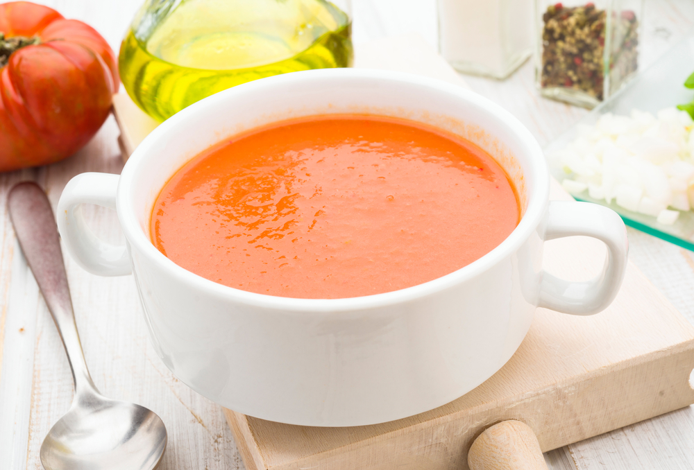 Andalusian gazpacho soup in white china bowl