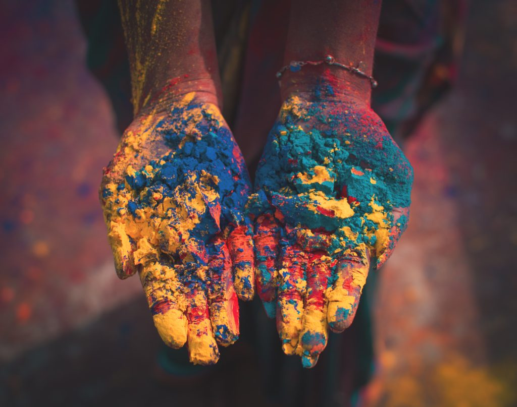 Hands with colors - Holi India for the first time