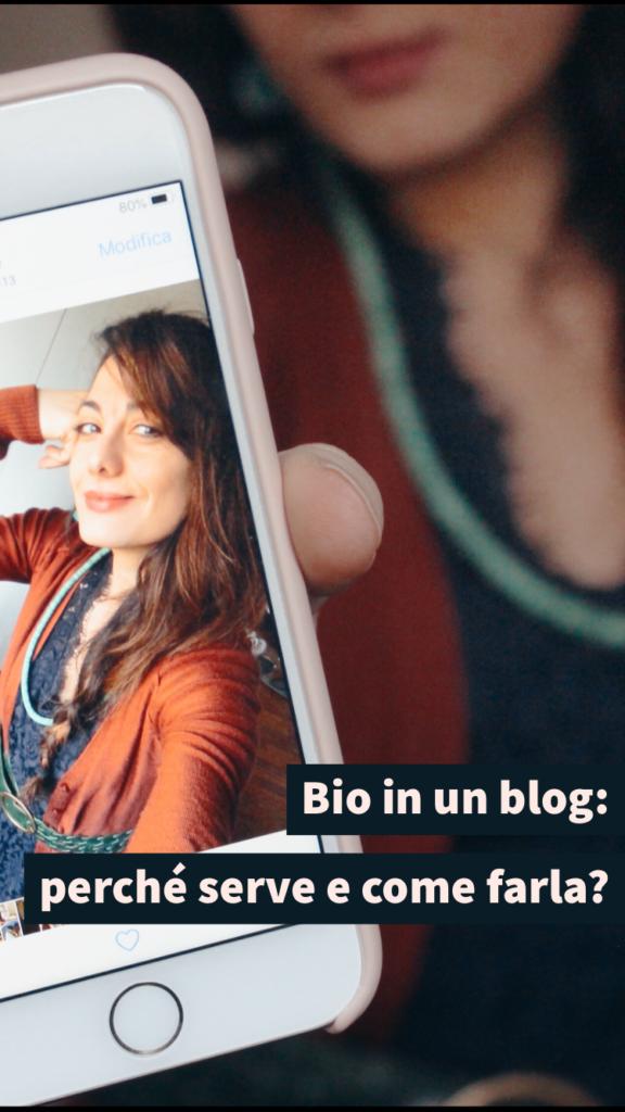 """grafica pinterest_foto sabrina e titolo """"Bio in un blog: come deve essere"""""""