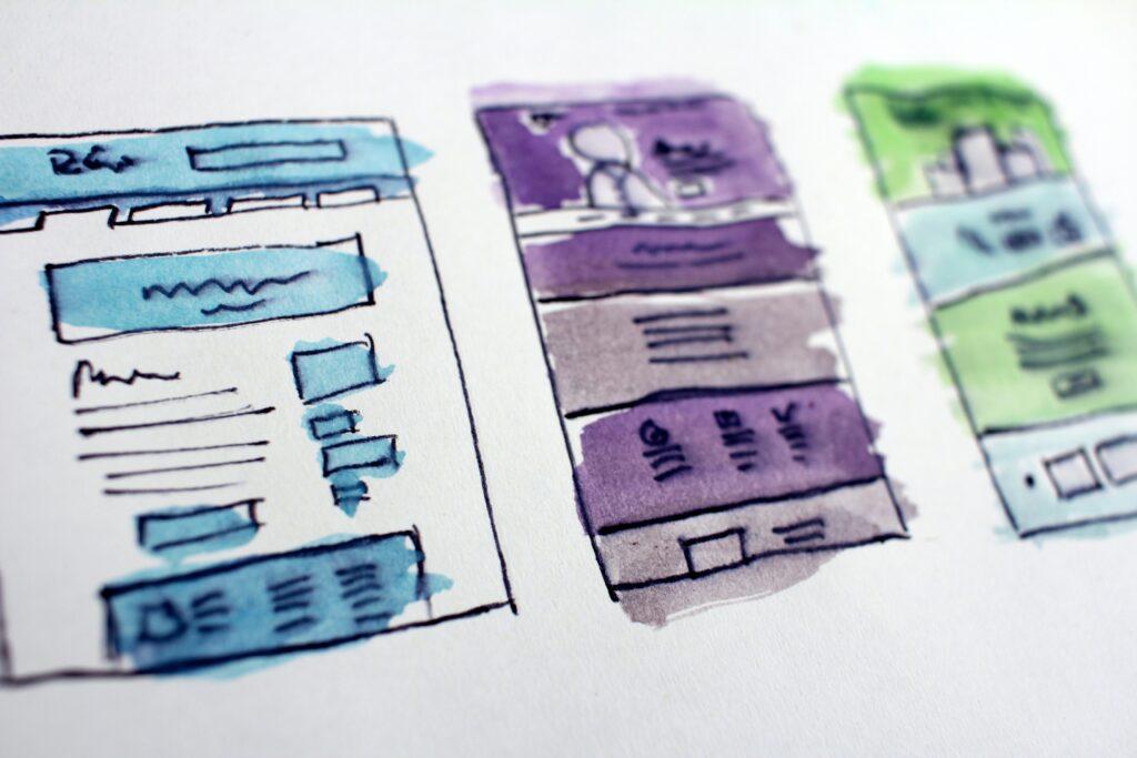 disegni ad acquerello con tre strutture di siti e blog